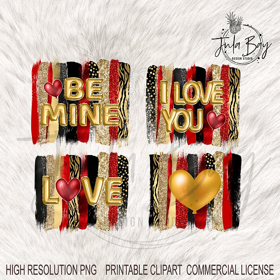 Valentines Day, Foil Balloon, Tiger Stripe Glitter PNG Sayings Be Mine Love