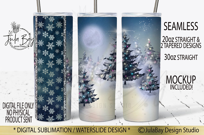 Christmas Tree Scene PNG Full Wrap Sublimation Design for 20oz tumblers