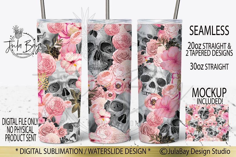 Skulls & Rose Flowers Skinny Tumbler Sublimation Design Tumbler Wrap