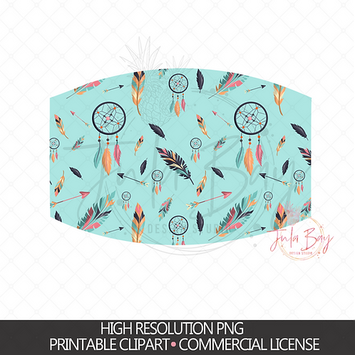 Arrow, Feathers & Dreamcatcher Patterned Sublimation Mask Design