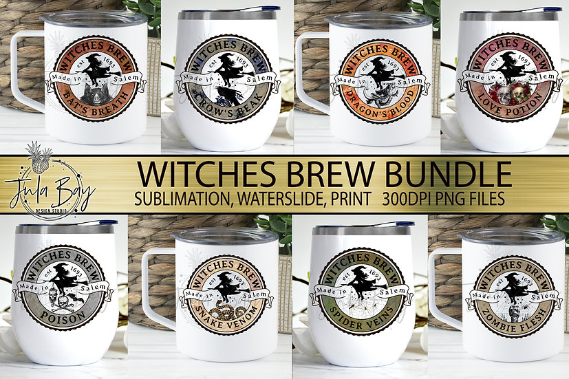 Witches Brew Drink Labels Bundle PNG Sublimation Waterslide