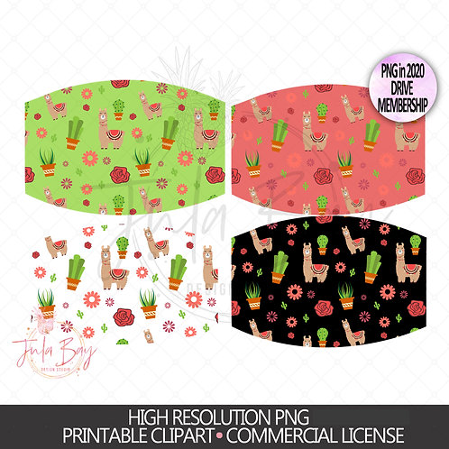 Llama and Cactus Mask Sublimation Design - Llama PNG Patterned Mask Set