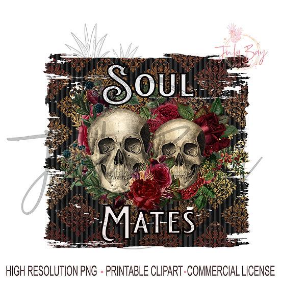 Soul Mates PNG Mug Goth Skull Saying Sublimation Design Skull Couple