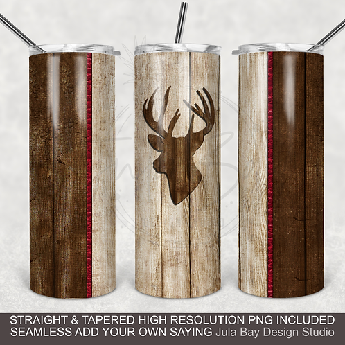 Wood tumbler wrap with Deer Two Tone Masculine Tumbler PNG Wrap