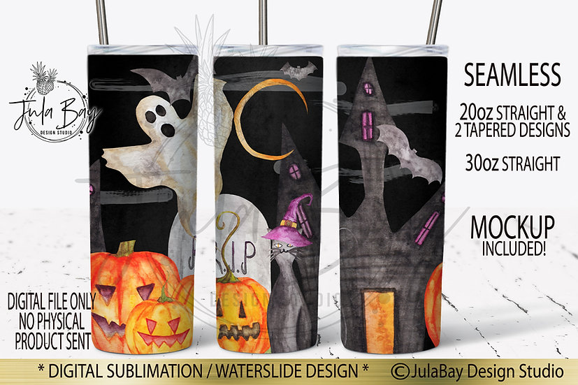 Halloween Skinny Tumbler Design Watercolor Pumpkin Ghosts