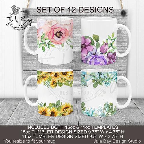 FULL BUNDLE Multi Color Floral Mug Wrap 11oz Mug PNG Pink Purple Blue Sunflow