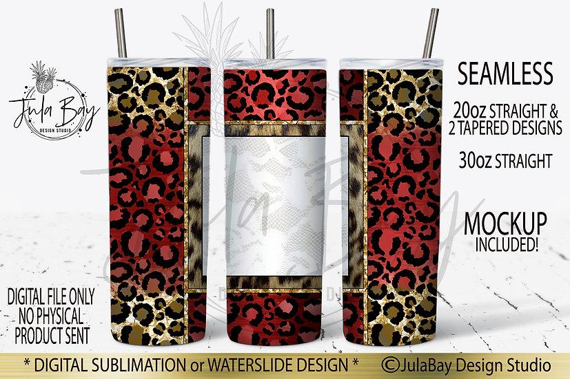 Red & Gold Leopard Print Skinny Tumbler Sublimation Designs Leopard Fur