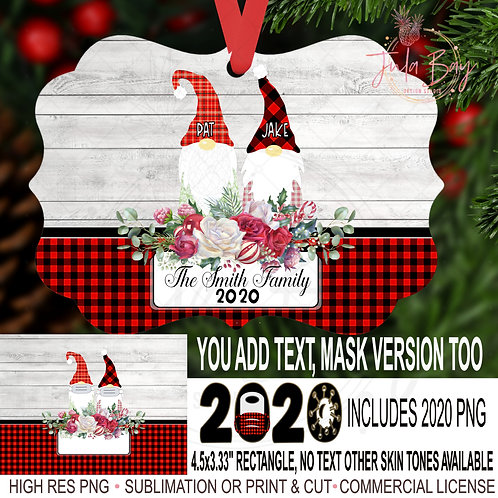 2020 Family Christmas Ornaments Gnome Couple  with Masks Covid Chri