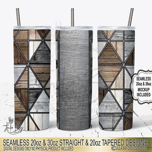 Masculine Geometric Skinny Tumbler Design PNG Woodgrain mult-triangle #geolavis