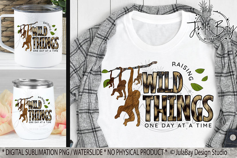 Mom of 4 Monkeys Raising Wild Things PNG Funny Parenting Sublimation Design