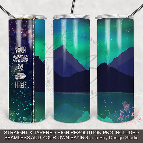 Northern Lights PNG Full wrap sublimation design for Skinny Tumblers