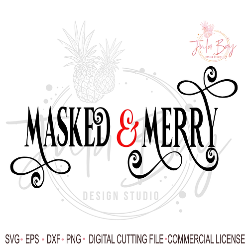Masked and Merry SVG - 2020 Christmas SVG - Christmas Wine Glass Cutting