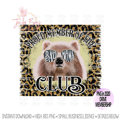 Bad Moms Club Sublimation Leopard Glitter Clipart PNG Moms Group Design