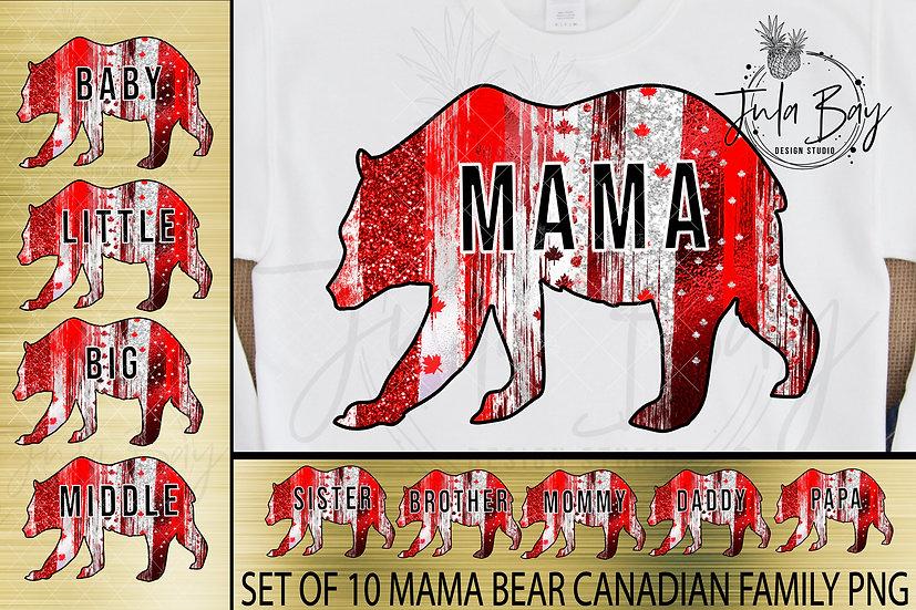 Canadian Mama Bear PNG Papa PNG Canadian Flag Bear Family Bundle