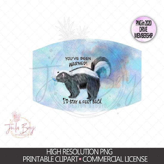 Funny Skunk with Mask Digital File PNG Farting Skunk Masks Design - Stay 6 Feet