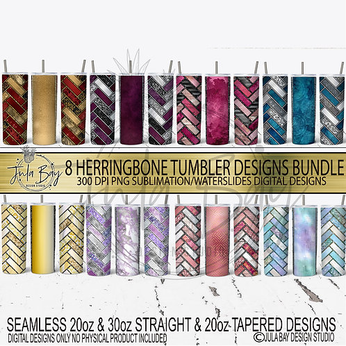 Herringbone SKinny Tumbler Bundle Sublimation PNG Waterslide Tumbler Geolavish