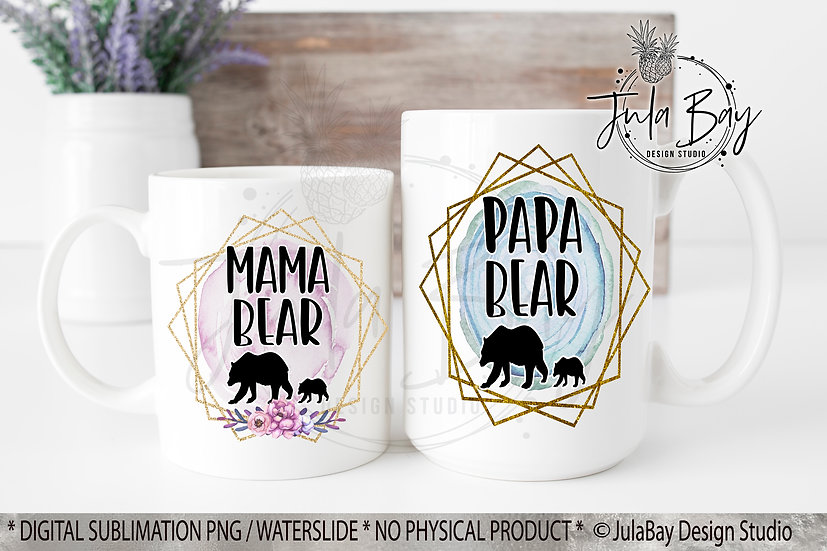 Mama Bear and Papa Bear with One Cup PNG Sublimation Design