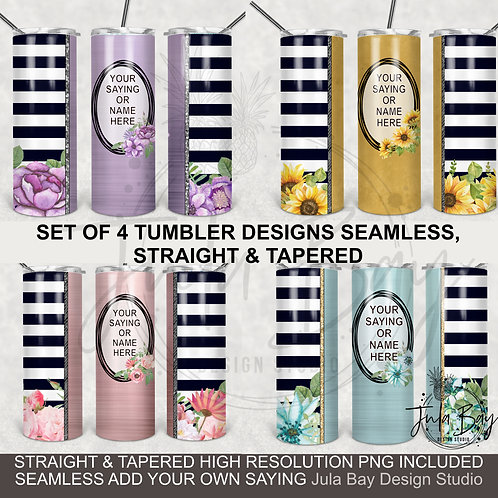 Bundle Seamless Floral Skinny Tumbler Templates PNG Stripes Flowers Pink Purple