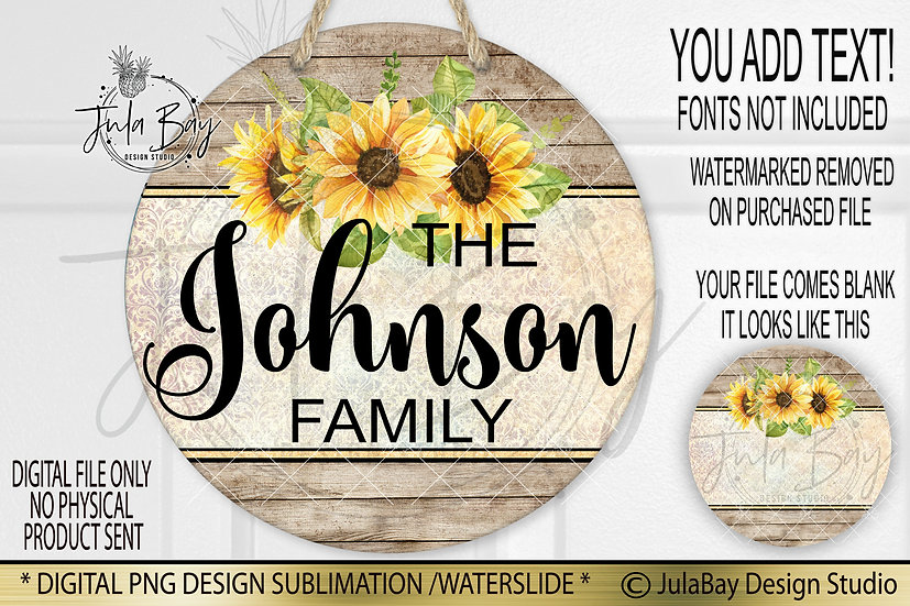 Pretty Sunflower Yellow Damask Round Door Sign Sublimation Design PNG