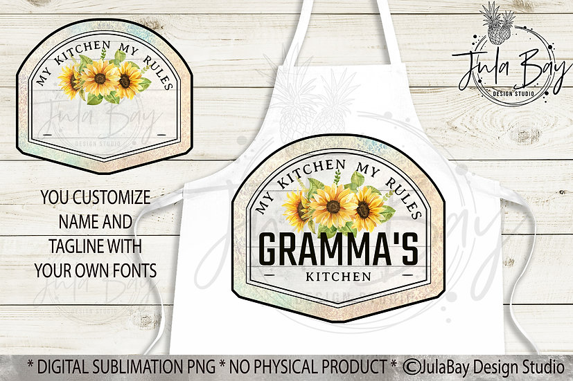 Sunflower Apron Design PNG Damask and Sunflowers Yellow Sublimation Design