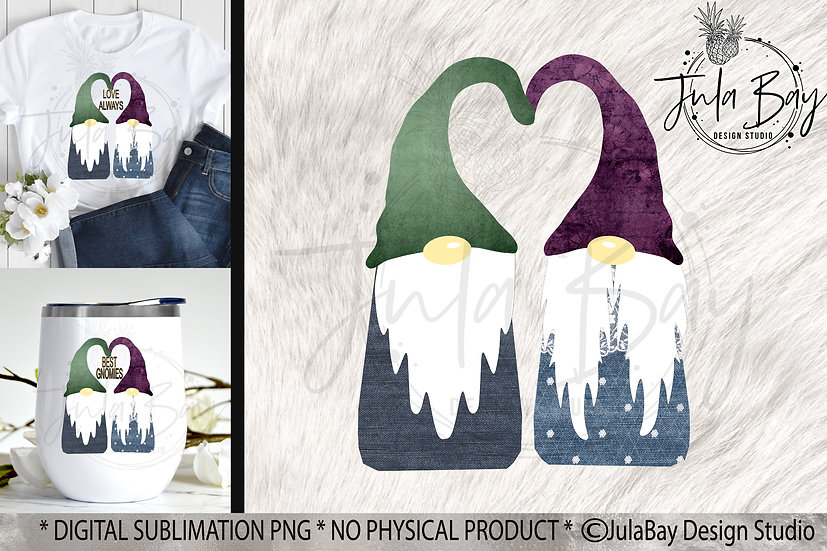 Gnome Couple in Love Sublimation Design - Gnome Couple PNG