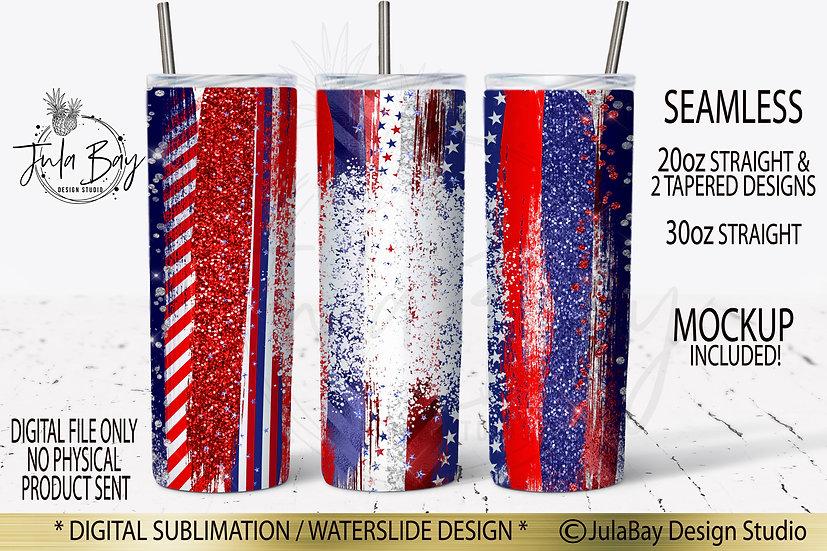 Patriotic Skinny Tumbler Wrap Brush Strokes July 4th Tumbler Design Bleach