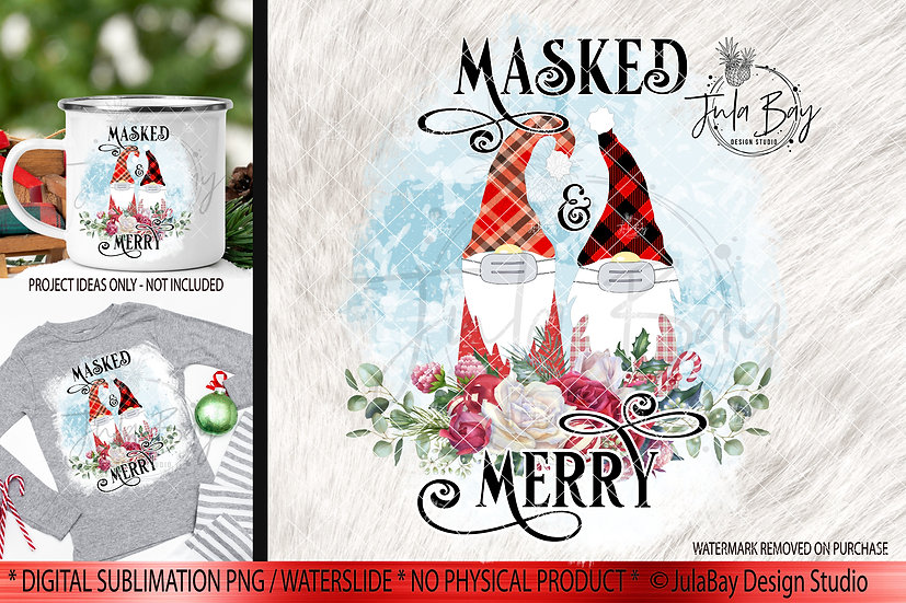 Masked & Merry Family of 2 Masked Gnomes PNG Christmas Gnome Sublimation Jammies