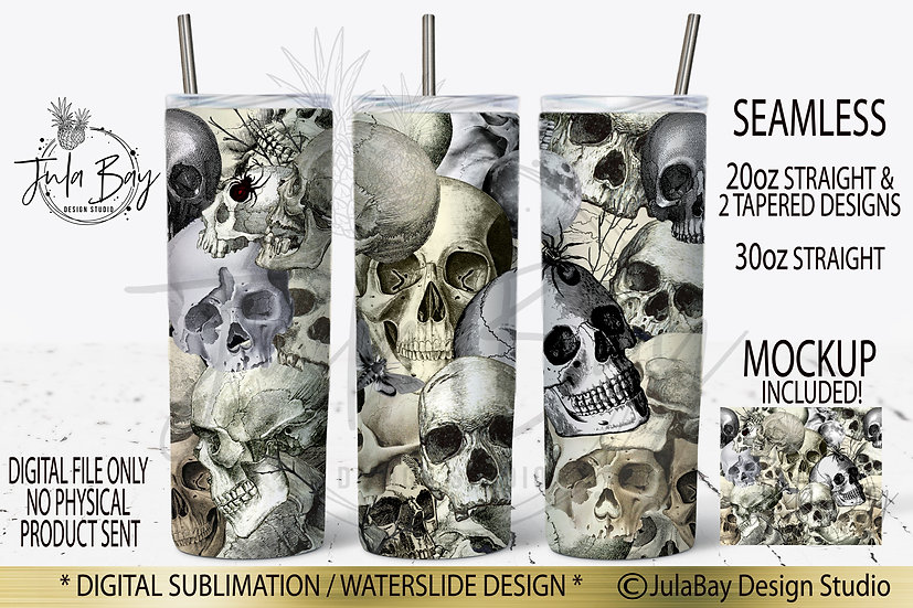 Masculine Skull Skinny Tumbler Sublimation Design Goth Halloween