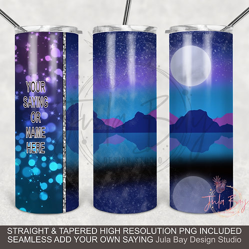 Mountain Moonlight Landscape PNG Full wrap sublimation design for Skinny Tumbler
