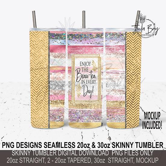 Tea Lover Skinny Tumbler Wrap PNG Rose Gold Tumbler Design Seamless
