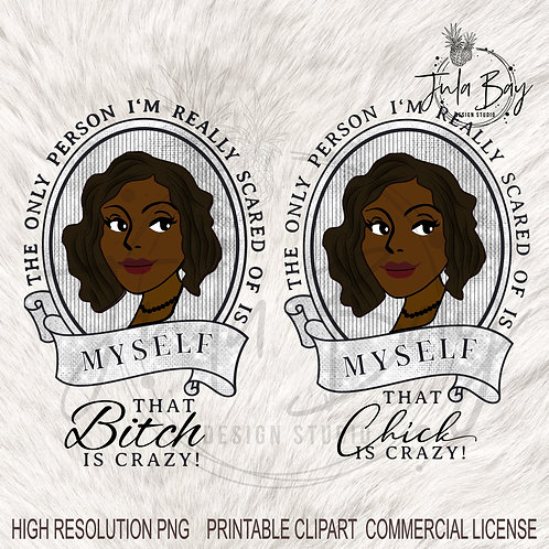 African American Vintage Lady Black Hair Clipart that Bitch is Crazy Fun