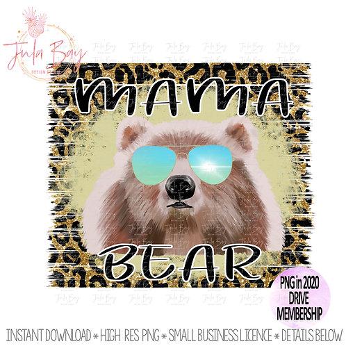 Mama Bear with Sunglasses Original Art Leopard Print Glitter Watercolor Bear