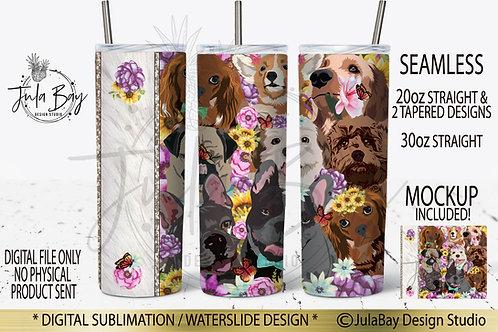 Dog Lover Skinny Tumbler Design PNG Vet Tumbler Design