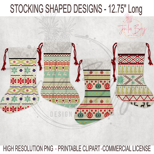 Christmas Stocking Sublimation Designs PNG Santa Stocking Ugly Christmas Sweater