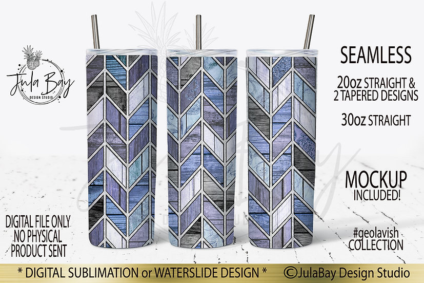 Shabby Chic Rustic Blue Woodgrain Chevron Skinny Tumbler Design PNG