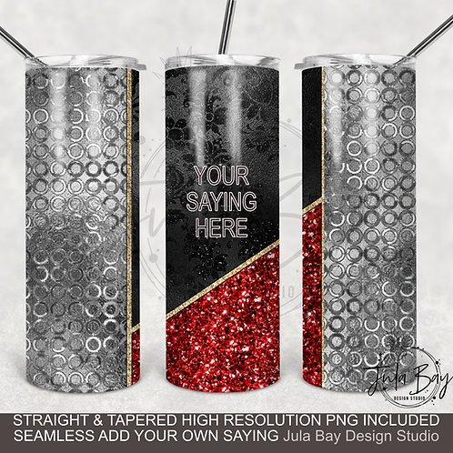 Red, Black and Silver Full Wrap Split Cup Design PNG Full Waterslide Wrap