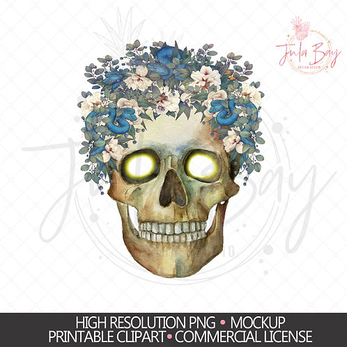 Skull with Snakes & Flowers PNG Sublimation Digital Download