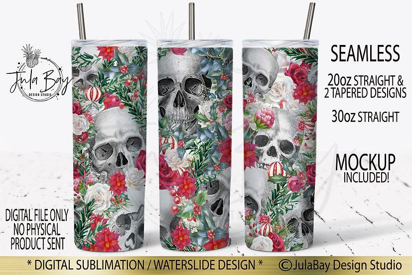 Christmas Skulls and Flowers Skinny Tumbler Design Sublimation Full Wrap Red