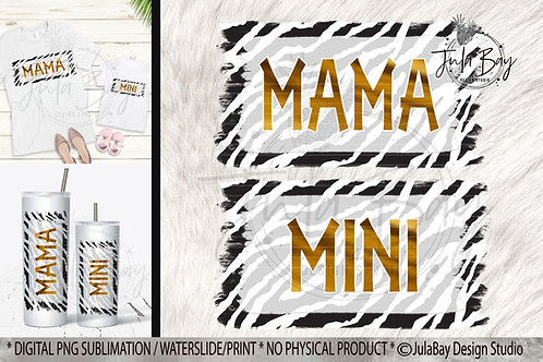 Zebra Mama & Mini Sublimation Designs Matching PNG Tshirt Design Set