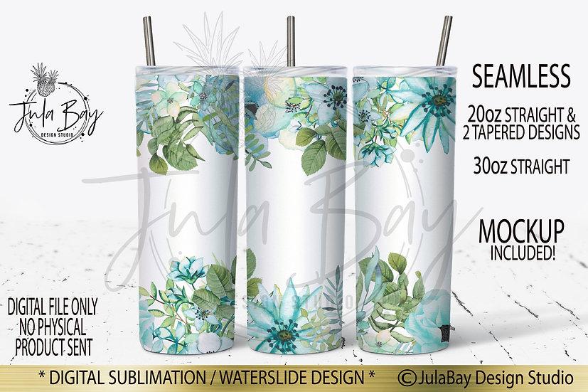 Blue Flowers  Skinny Tumbler Design Watercolor Floral Tumble Wrap PNG