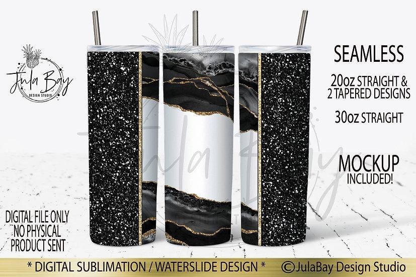 Black Glitter Agate Skinny Tumbler Design PNG Sublimation Design