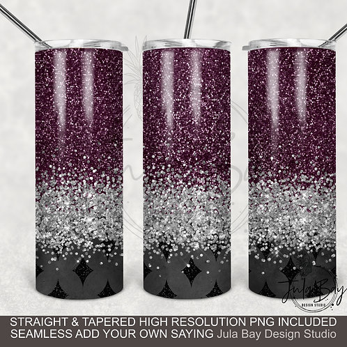 Faux Glitter Full Tumbler Wrap PNG Mauve, black and Silver PNG Full Waterslide