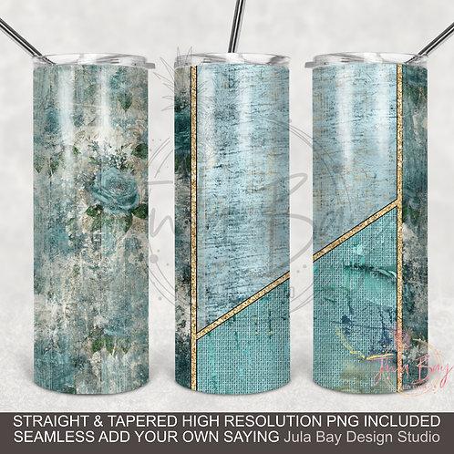 Shabby Chic Blue Wood Grain Epoxy Style PNG sublimation  Skinny Tumbler
