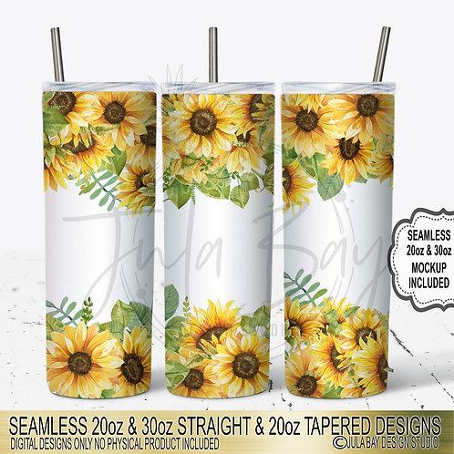 Sunflower Skinny Tumbler Design Watercolor Sunflower PNG