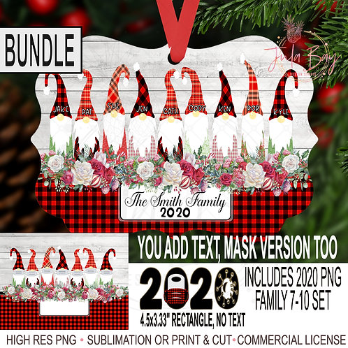 Gnome Family Christmas Ornament Bundle PNG 2020 Gnomes with Mask 7, 8, 9, 10