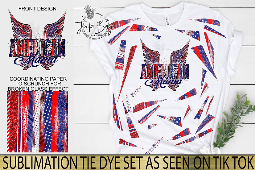 American Mama Wings Sublimation Tie Dye PNG 4th of July Independence Day
