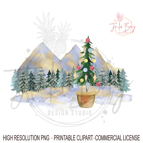 Christmas Tree Mountain PNG - Skinny Tree with Ornaments Sublimation Design