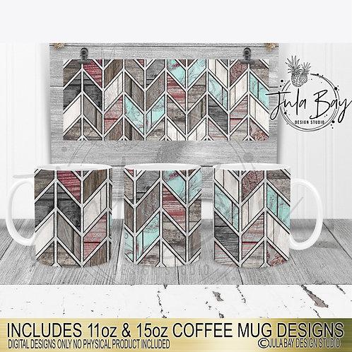 Shabby Chic Rustic Tangram Pattern Coffee Mug Full Wrap Designs 11oz & 15oz