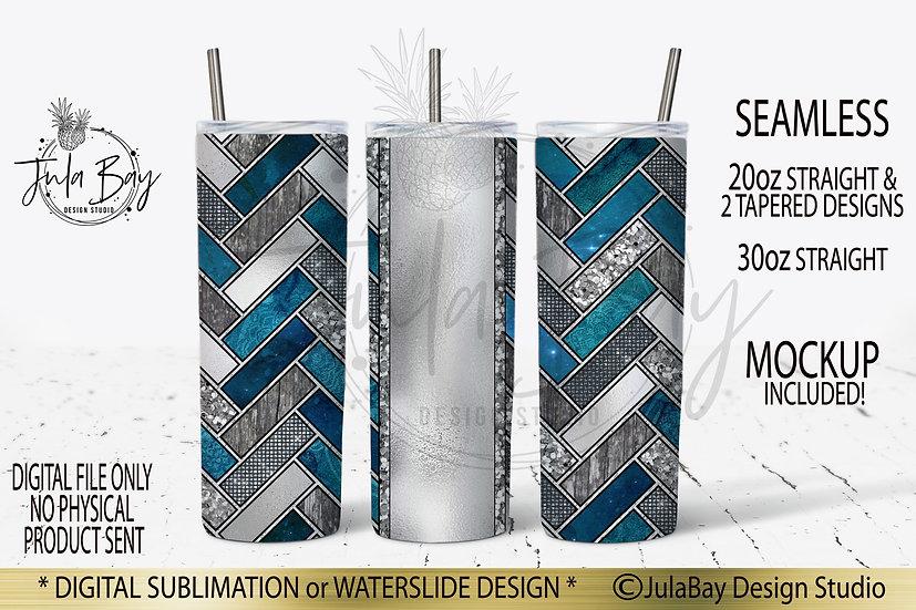 Teal Herringbone 20oz Skinny Tumbler Design PNG #geolavish Sublimation