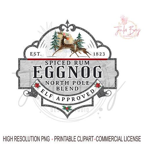 Spiced Rum EggNog Christmas PNG Sublimation Design Instant Download Egg Nog